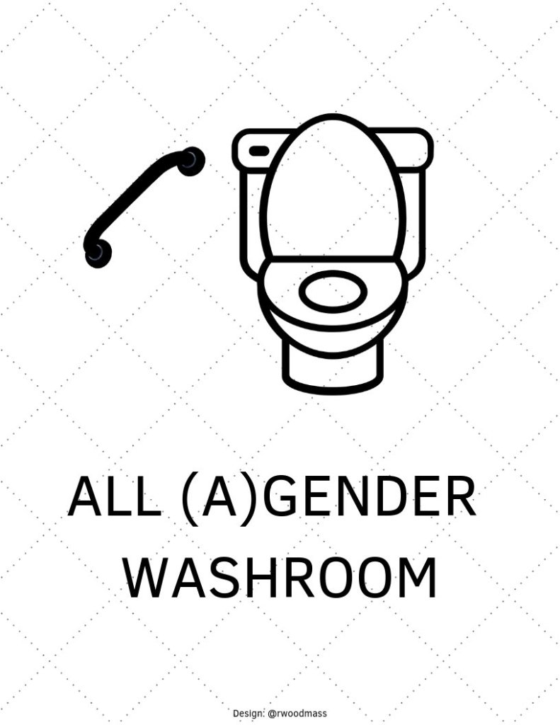 Inclusive Washroom Sign with Toilet, Bar