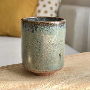 Teal Stoneware Bud Vase